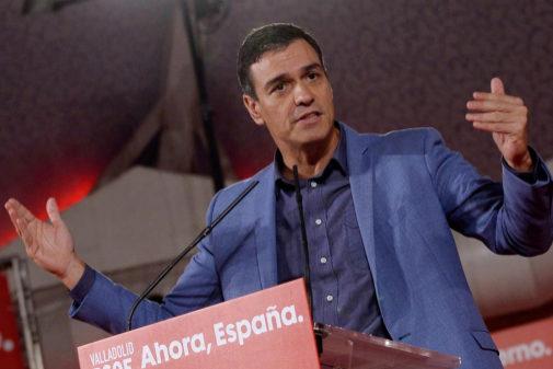 Pedro Sánchez, el viernes, en un mitin de precampaña del PSOE en...