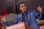 Pedro Sánchez, el viernes, en un mitin de precampaña del PSOE en Valladolid.
