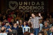Pablo Iglesias, en un mitin de Unidas Podemos en Murcia.