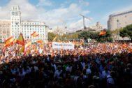 Manifestación por el Día de la Fiesta Nacional en Barcelona.