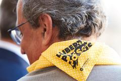 El presidente de la Generalitat, Quim Torra, durante las fiestas de la Mercè, luciendo un pañuelo amarillo en apoyo a los independentistas presos.