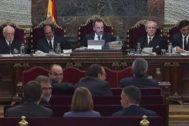 Vista general de la sala del Tribunal Supremo, durante la cuadragésimo sexta sesión del juicio del procés.