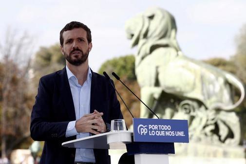Pablo Casado, este domingo, en la presentación de las listas al 10-N...