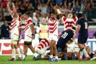 Los japoneses celebran la victoria.