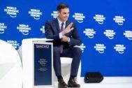 El presidente del Gobierno en funciones, Pedro Sánchez, durante el último Foro de Davos