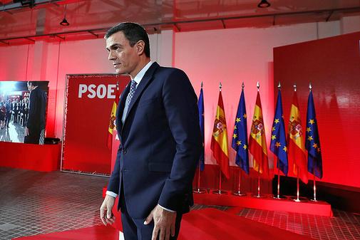 El presidente del Gobierno en funciones, Pedro Sánchez, durante el...