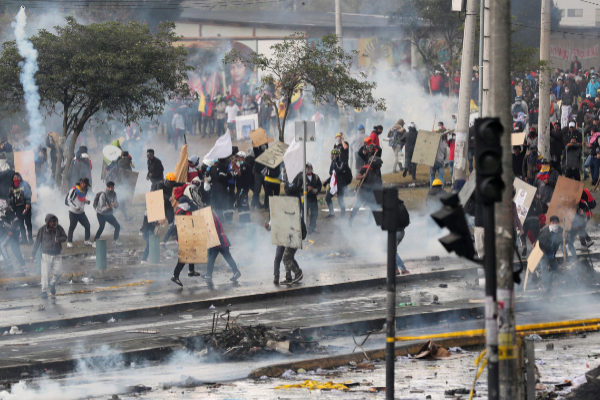 Protests against Ecuador's President Moreno's austerity measures in...
