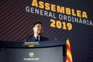 Bartomeu, durante la última Asamblea de Compromisarios del Barça.