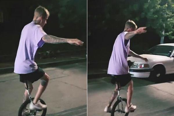 La caída viral de Justin Bieber montando en monociclo revolucionó...