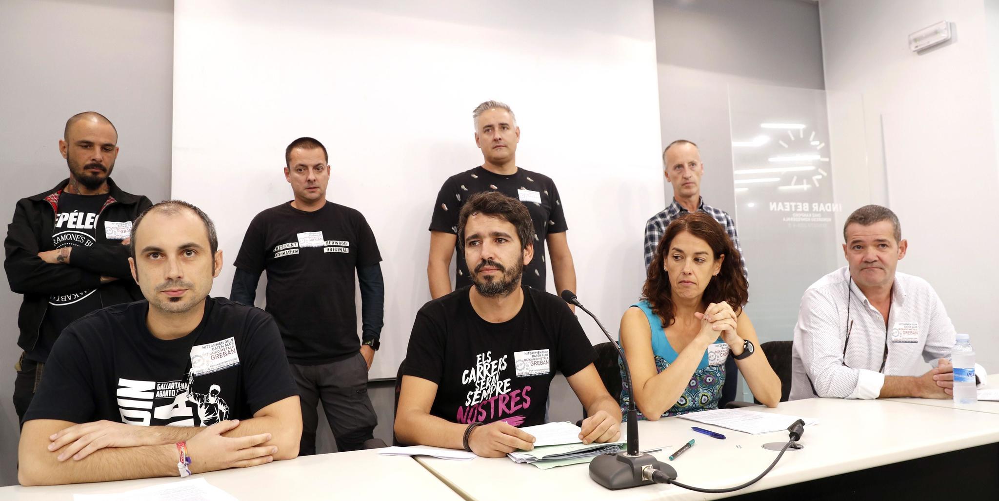 Representantes de los sindicatos del Metal de Bizkaia.