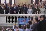 Carles Puigdemont, Oriol Junqueras y dirigentes separatistas, tras la sesión del Parlament del 27 de octubre de 2017.