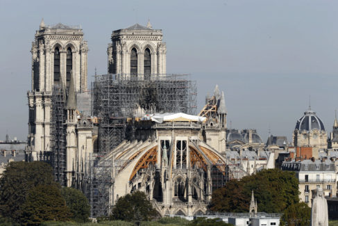 PARIS, FRANCE - SEPTEMBER 6: <HIT>Notre</HIT> <HIT>Dame</HIT> Cathedral is seen almost five months after the massive fire that ravaged the world-famous monument on September 06, 2019 in Paris, France. Four months after the fire that destroyed the roof of the famous cathedral, a high building site begins around <HIT>Notre</HIT> <HIT>Dame</HIT> Cathedral. Workers, archaeologists, scientists and researchers work at the site. The cleaning and consolidation phase of the building should continue until at least the end of the year. (Photo by Chesnot/Getty Images)/*****pablo gil, cultura