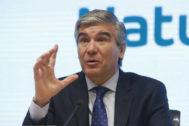 El presidente de Naturgy, Francisco Reynés, durante la presentación de resultados de la compañía 2018.
