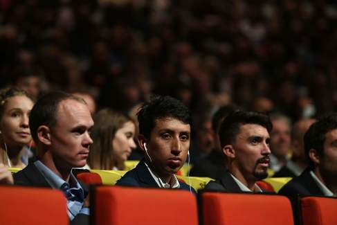 <HIT>Tour</HIT> de <HIT>France</HIT> titled older Colombian Egan Bernal (C), French cylist Julian Alaphilippe (R) and British four-time winner Chris Froome (L), attend the official presentation of the next <HIT>Tour</HIT> de <HIT>France</HIT> 2020 cycling race on October 15, 2019 in Paris. - The 3,470km (2,156-mile) <HIT>Tour</HIT> starts on June 27 from Nice and ends on the Champs Elysees in Paris on July 19, a week earlier than usual to accommodate the Tokyo Olympics which starts on July 24. (Photo by Alain JOCARD / AFP)