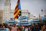 Manifestación contra la sentencia del Supremo, este lunes en la Plaza Cataluña de Barcelona.
