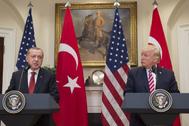 Recep Tayyip Erdogan y Donald Trump, en una rueda de prensa en Washington, en 2017.