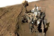 El vehículo robótico 'Curiosity', sobre la superficie de Marte.