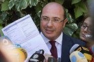 El ex presidente de Murcia Pedro Antonio Sánchez, durante una comparecencia pública.