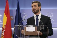 GRAF037. MADRID.- El presidente del Partido Popular <HIT>Pablo</HIT> <HIT>Casado</HIT>, hoy en rueda de prensa en el Congreso de los Diputados.- J.J.Guillén