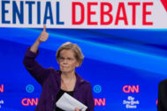 Democratic presidential candidate Senator <HIT>Elizabeth</HIT> <HIT>Warren</HIT> gives a thumbs up to someone in the audience during a break in the fourth U.S. Democratic presidential candidates 2020 election debate in Westerville, Ohio