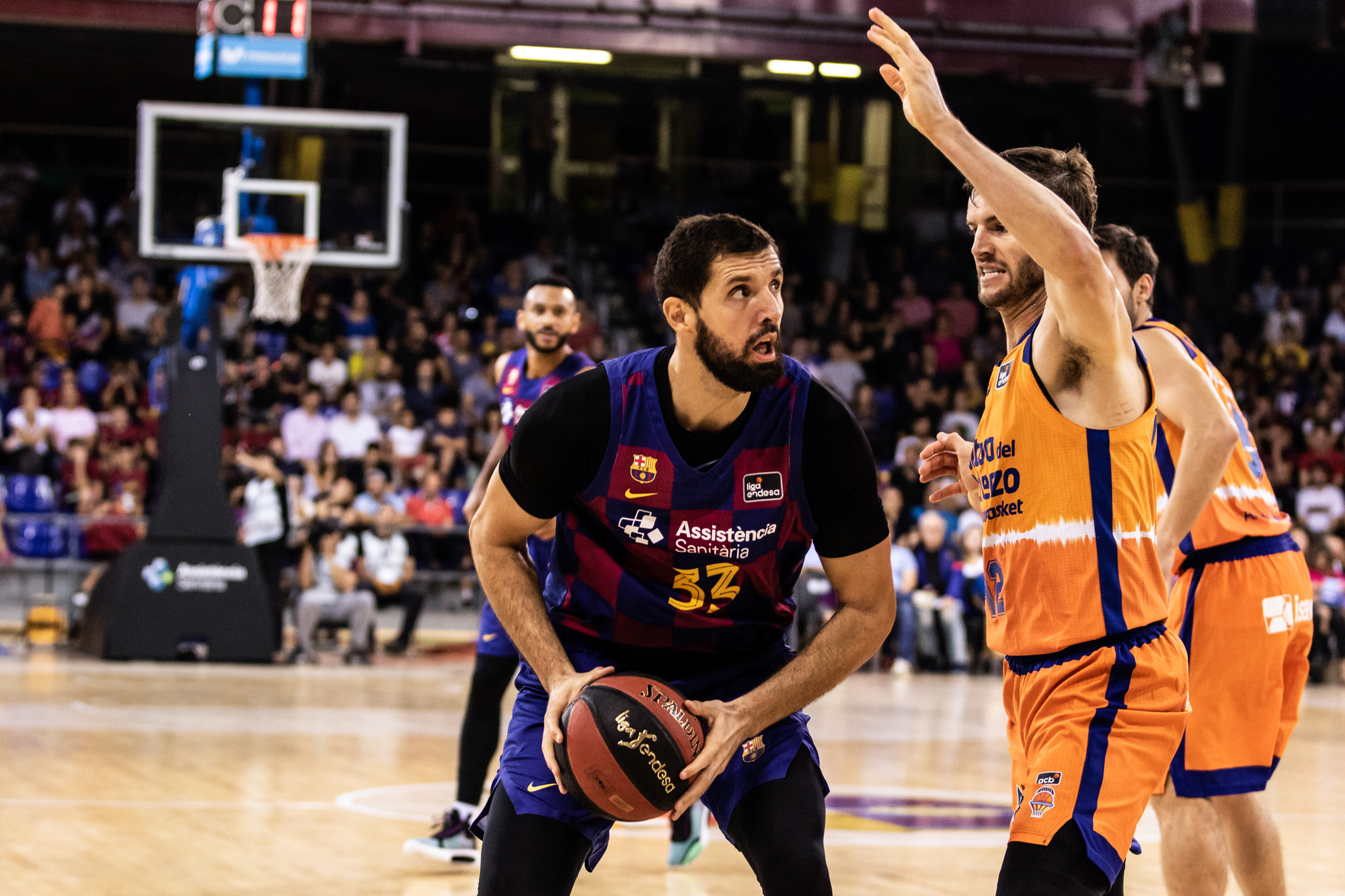 Nikola <HIT>Mirotic</HIT>, #33 ofFc Barcelona in action during the Liga Endesa match between FC Barcelona and Valencia Basket at Palau Blaugrana, in Barcelona, Spain, on October 13, 2019. 13/10/2019 ONLY FOR USE IN SPAIN
