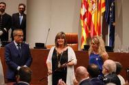 La socialista Nuria Marín, en su toma de posesión como presidenta de la Diputación de Barcelona, con el apoyo de JxCat.