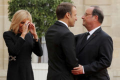 French President Emmanuel Macron and her wife Brigitte Macron welcome former French President Francois <HIT>Hollande</HIT> for a lunch at the Elysee Palace after the funeral ceremony for late French President Jacques Chirac during a national day of mourning in Paris, France, September 30, 2019. REUTERS/Philippe Wojazer - RC148D3A7D50
