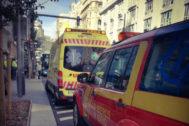 Ambulancias en el lugar donde ocurrieron los hechos.