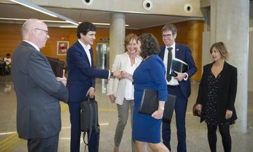 El diputado general Rementeria saluda a miembros del Consejo Vasco de Finanzas en Lakua.