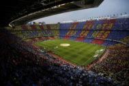 Una vista general del Camp Nou en el último clásico.