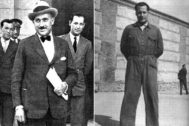 Eduardo Iglesias Portal (i), el amigo que sentenció a José Antonio, fotografiado a la derecha en el patio de la prisión de Alicante donde ingresó en marzo de 1936.