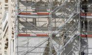 Las obras de restauración en la Giralda revelan que los almohades la pintaron de rojo, ocre y dorado