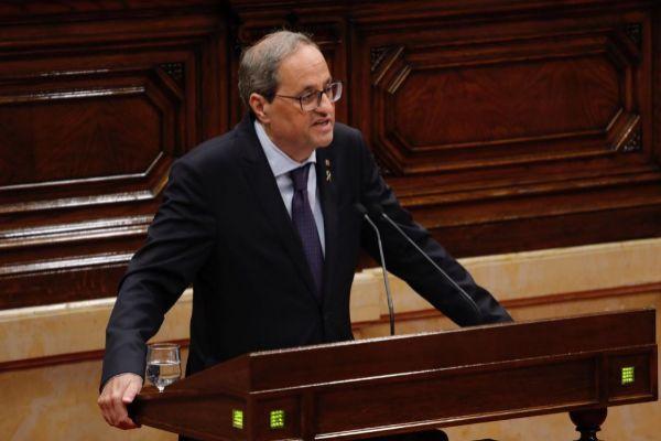 Quim Torra, durante su intervención en el Parlament.