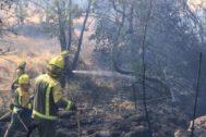 Extinción del fuego en Cadalso.