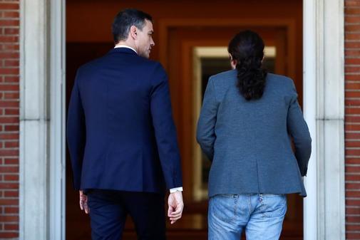 Pedro Sánchez y Pablo Iglesias, este miércoles juntos en La Moncloa,...