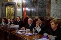 De izda. a dcha., los magistrados Andrés Palomo, Luciano Varela, Andrés Martínez Arrieta, Manuel Marchena, Juan Ramón Berdugo, Antonio del Moral y Ana Ferrer.