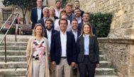 El presidente del PP balear, Biel Company, flanqueado  por las cabezas de lista al Congreso y Senado, Marga Prohens y Maria Salom, ayer, en Palma.