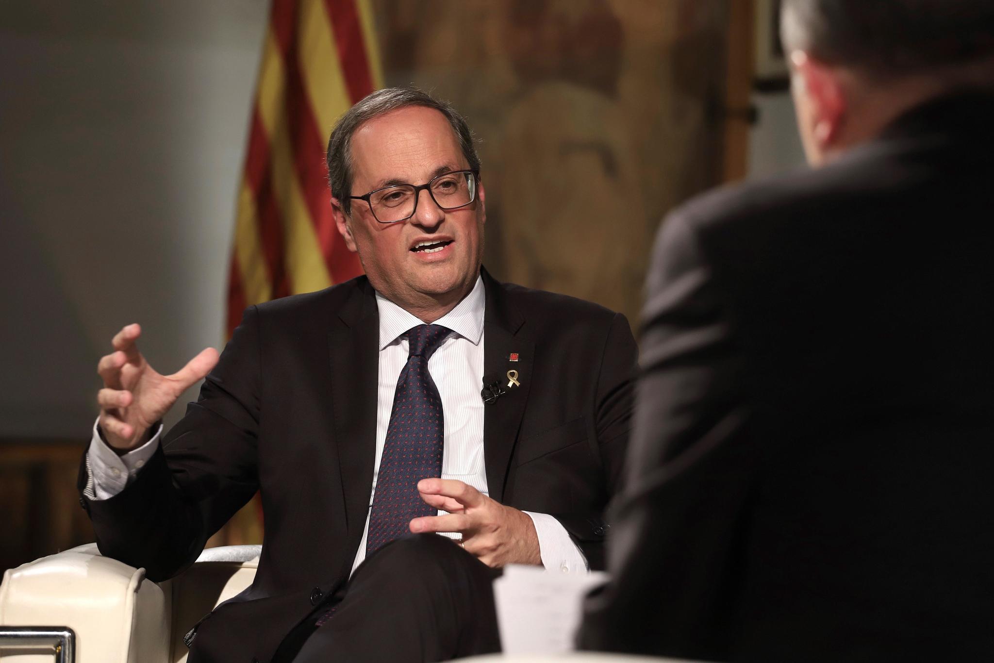 Torra, durante una entrevista desde en el Palau de la Generalitat.