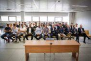 El banquillo con los 42 acusados por el presunto amaño del Levante-Zaragoza.