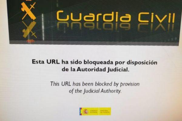 Mensaje de la Guardia Civil que informa del bloqueo de la página de...
