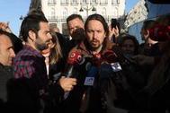 El líder de Podemos, Pablo Iglesias, responde a las preguntas de la prensa en Madrid el pasado martes.