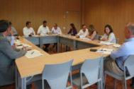 Imagen de la mesa de coordinación, ayer.