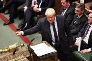El 'premier' Boris Johnson en el Parlamento británico.