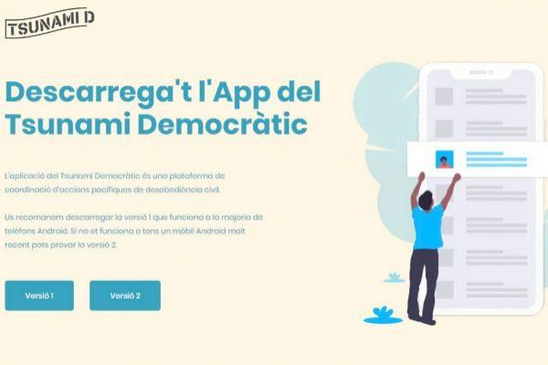 Página web de Tsunami Democràtic que promueve la descarga de su...