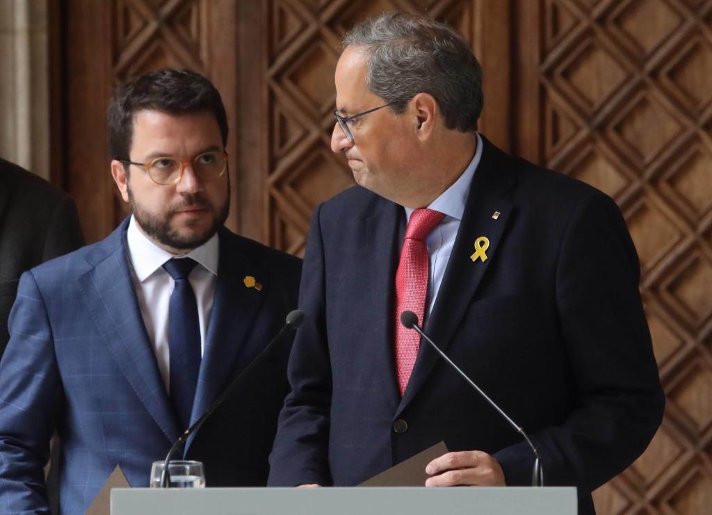Torra y Aragonès en la comparecencia