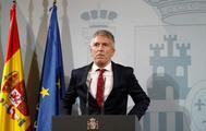 El ministro del Interior en funciones, Fernando Grande Marlaska, en la rueda de prensa ofrecida, este sábado, en Barcelona.