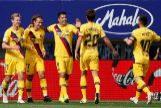 GRAF3193. EIBAR. Los jugadores del FC Barcelona celebran el gol de Antoine <HIT>Griezmann</HIT> (2i) durante el partido ante el SD Eibar, correspondiente a la novena jornada de LaLiga Santander, que se disputa en el Estadio Municipal de Ipurúa, en Eibar.