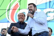 Rome (Italy).- (L-R) Leader of Forza Italia party, Silvio <HIT>Berlusconi</HIT>, and the Secretary of League party Matteo Salvini during the anti-government rally called by the League party in Rome, Italy, 19 October 2019. League party leader Matteo Salvini, who pulled the plug on the M5S-League government on 08 August citing M5S inaction, called the protest shortly after the inception of the new government formed by his former ally, the anti-establishment 5-Star Movement (M5S), and the centre-left Democratic Party (PD). (Protestas, Italia, Roma) EPA/