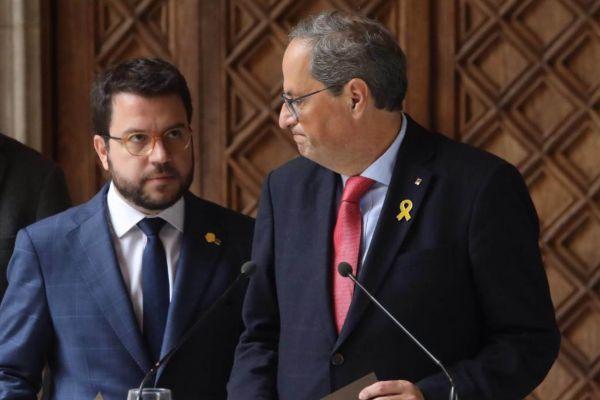 Pere Aragonés y Quim Torra, ayer durante su rueda de prensa conjunta.