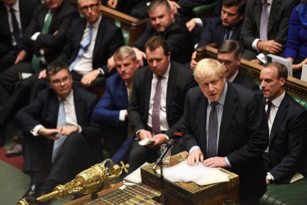 Boris Johnson, en la sesión parlamentaria de ayer.